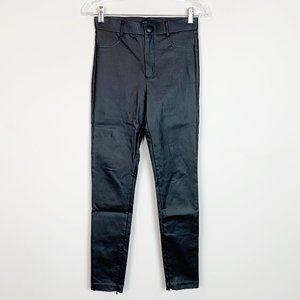 Zara | hi rise faux leather black pants zip ankle